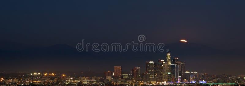 Moonrise over Los Angeles stock photo