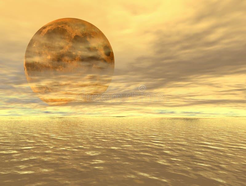 Moonrise over the ocean stock illustration