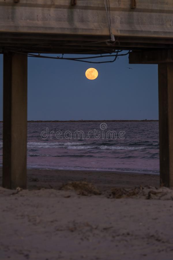 Moonrise over ocean royalty free stock photo
