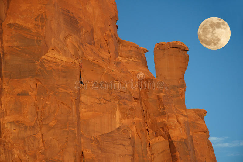 Moonrise Over Rock Formation - Monument Valley, Ar