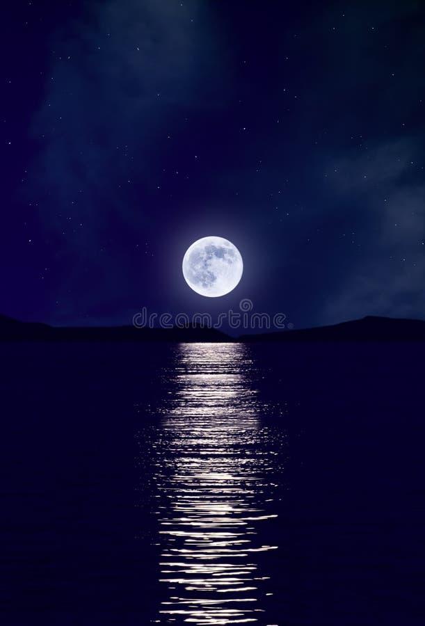 Moonrise Over Sea Stock Photos