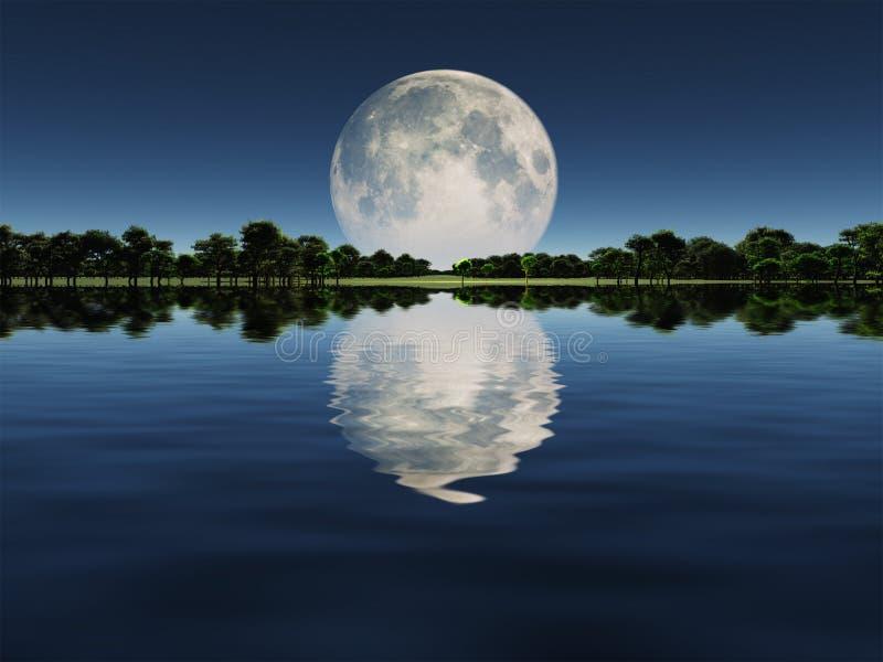 Moonrise sobre o lago ilustração royalty free
