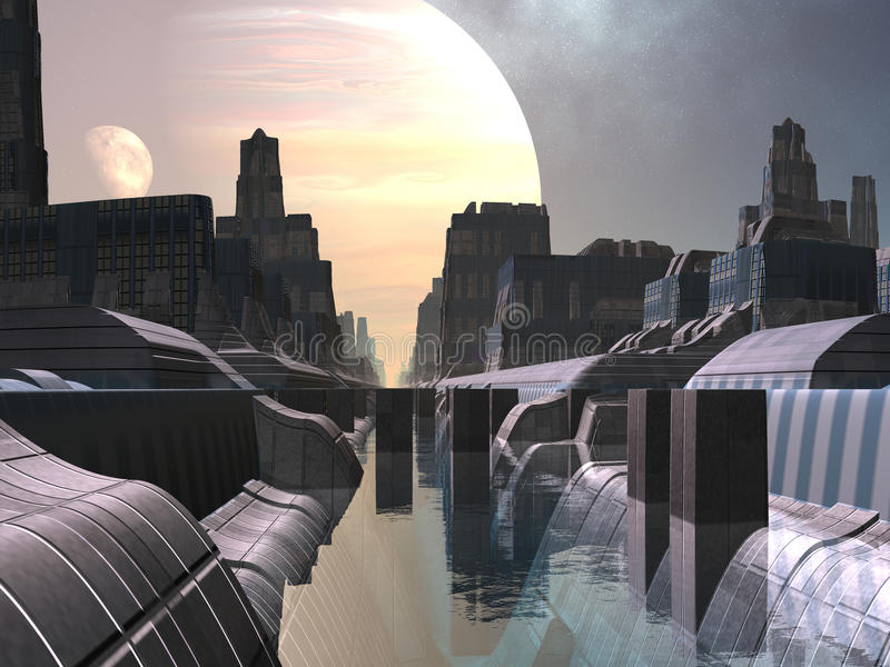 moonrise som är ny över venice royaltyfri illustrationer