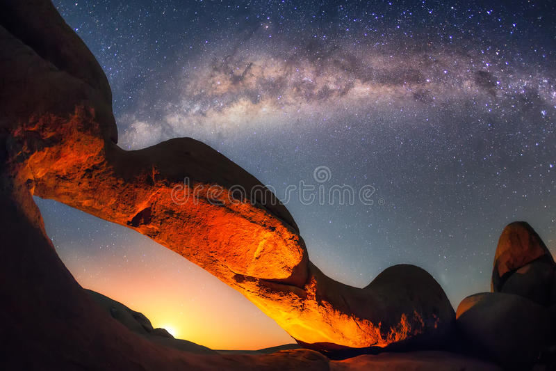 Moonrise at the Spitzkoppe's arch stock images