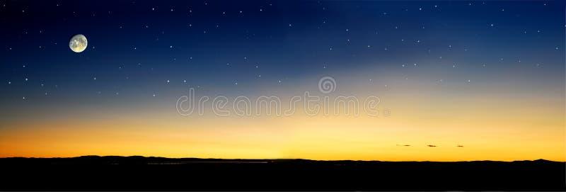moonrise sunset απεικόνιση αποθεμάτων