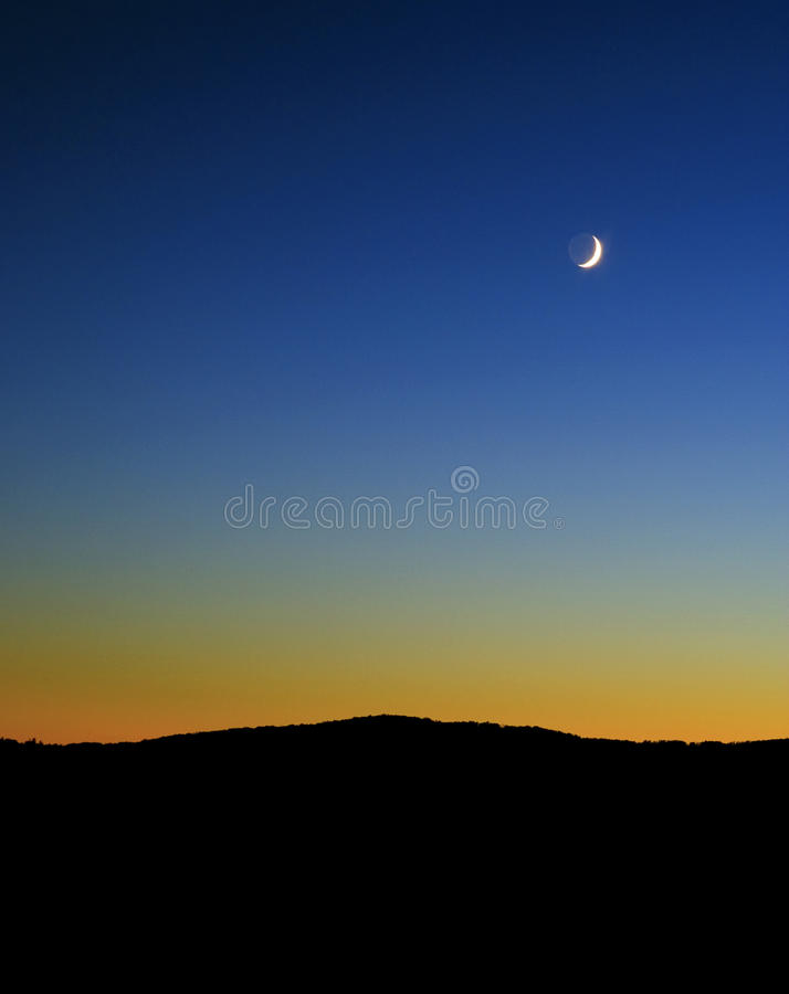 Moonrise and sunset over Beagle Point, Upper Buffalo Wilderness Area, Ozark National Forest, Arkansas royalty free stock image
