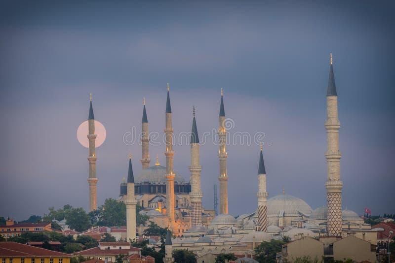 Moonrise w Edirne fotografia royalty free
