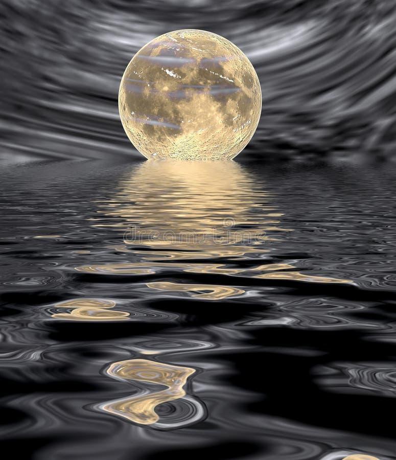 Moonrise on water surface stock illustration