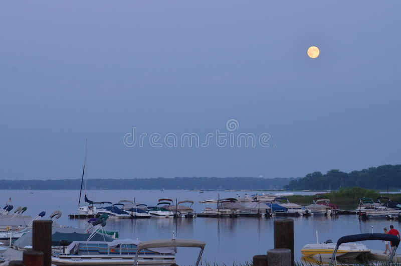 Moonrise at White Bear Lake royalty free stock image