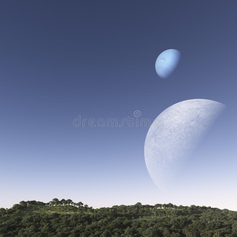 Moons Over The Hill royalty free stock photo