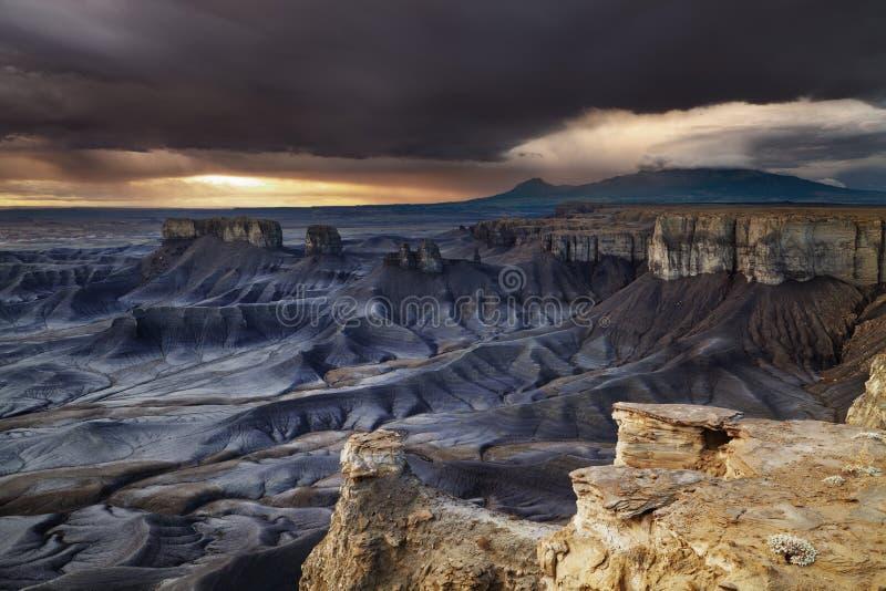 Moonscape在犹他沙漠俯视 免版税库存照片