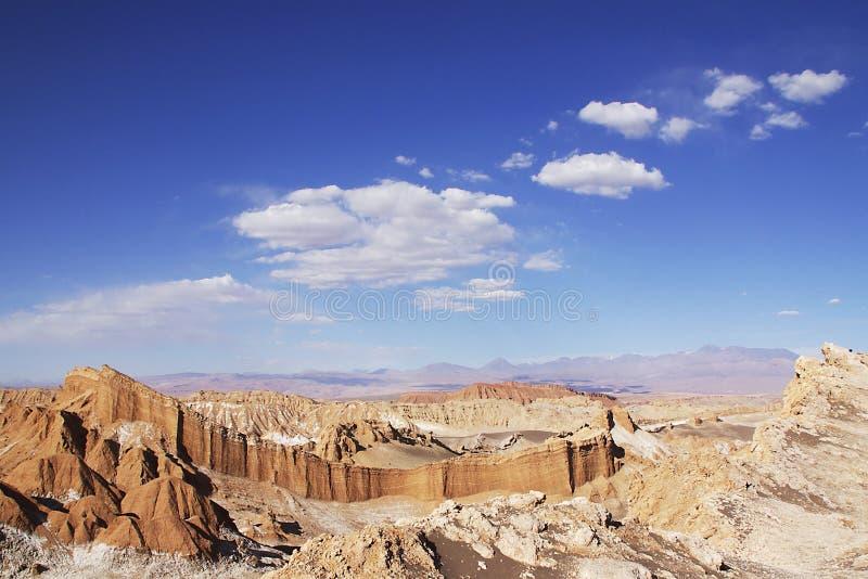 Moonscape风景在辣椒的atakama沙漠 免版税库存照片