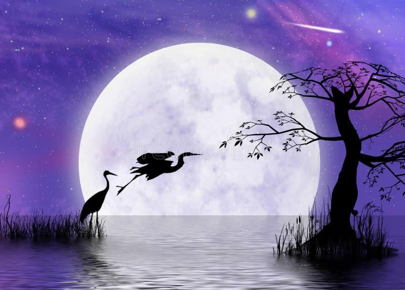 Moonscape de la fantasía de la garza stock de ilustración