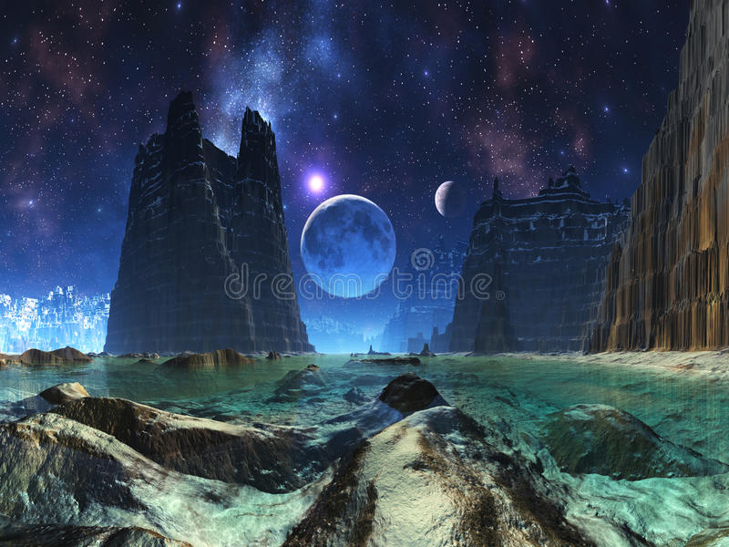 Moonscape sopra l'oceano straniero illustrazione di stock