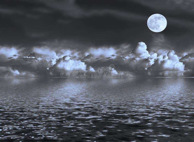 moonseascape arkivfoton