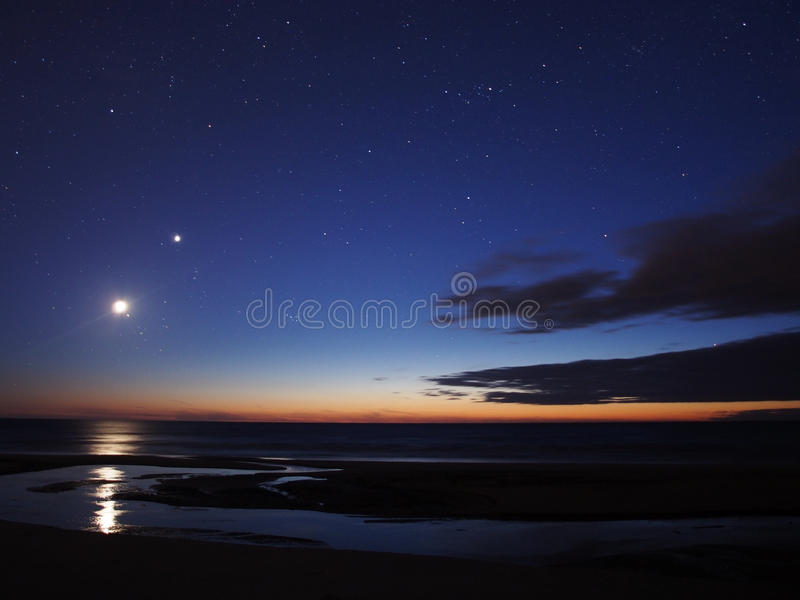 Moonset image stock