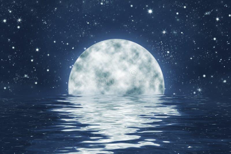Moonset over oceaan met volle maan op blauwe nachthemel royalty-vrije illustratie