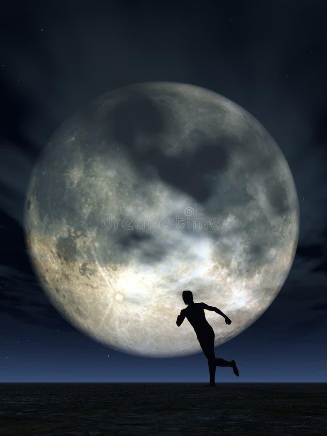 Moonshine runner. Jogging man and full moon - 3d illustration stock illustration