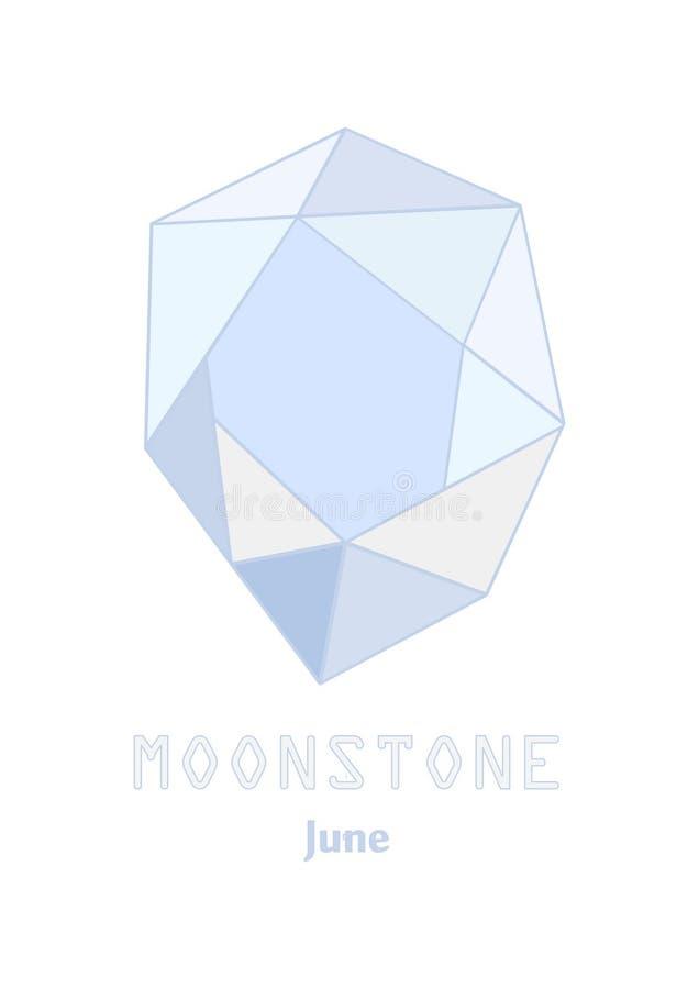 Moonstone ädelstensten, gräns - blå kristall, ädelstenar och mineralisk crystal vektor, Juni birthstonegemstone stock illustrationer