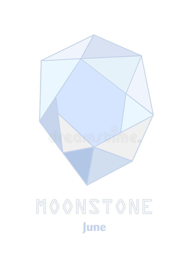 Moonstone-gemsteen, Lichtblauw kristal, Gemmen en minerale kristalvector, Juni-birthstonehalfedelsteen stock illustratie