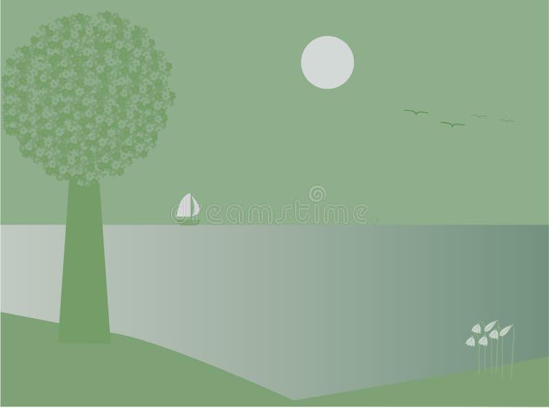 moonvatten royaltyfri illustrationer