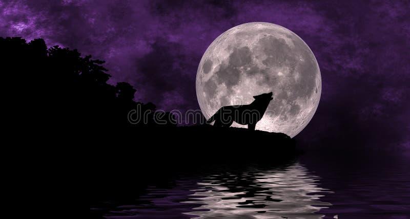 moonwolf vektor illustrationer