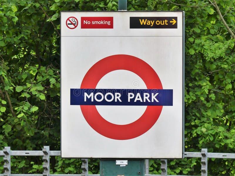 Moor Park London Underground Metropolitan railway roundel sign royalty free stock images