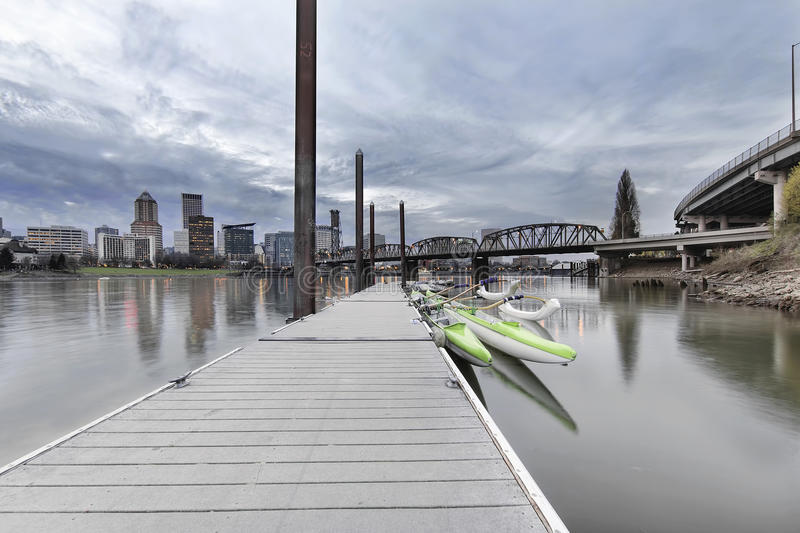 Moorage at Portland Downtown Waterfront. On the Willamette River with City Skyline at Dusk royalty free stock photos