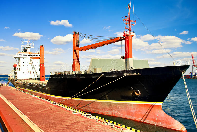 Moorage ship. Industrial scene - moorage ship in a seaport royalty free stock images