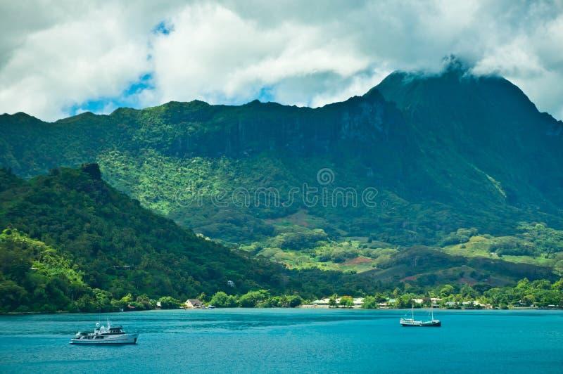 Moorea海岛,厨师的海湾,法属玻里尼西亚 免版税库存照片
