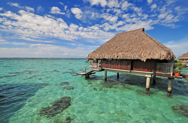 Moorea Island, Tahiti. French Polynesia from a hut on the water stock photography