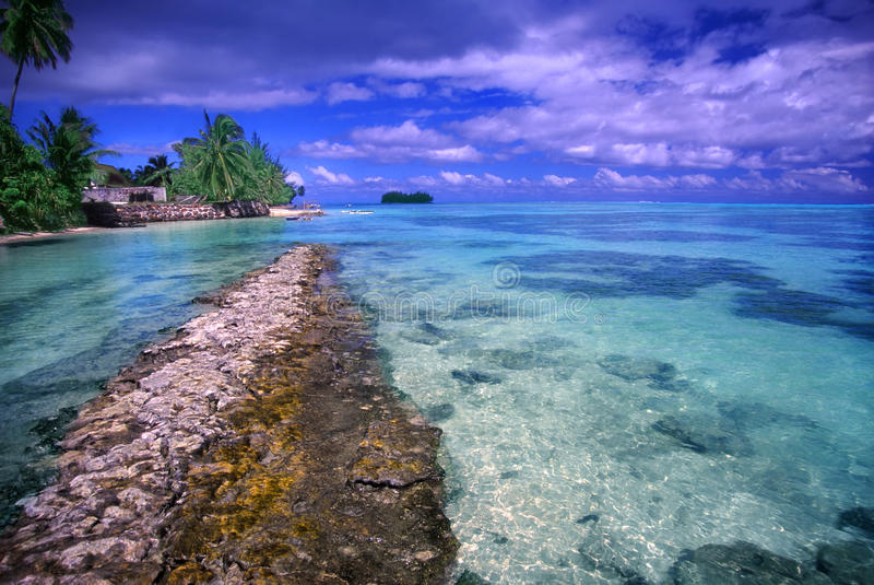 Moorea-Strand-Lagunen-Französisch-Polynesien stockfotos