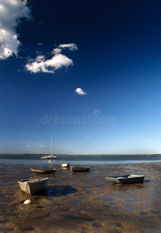 Moored boats stock images
