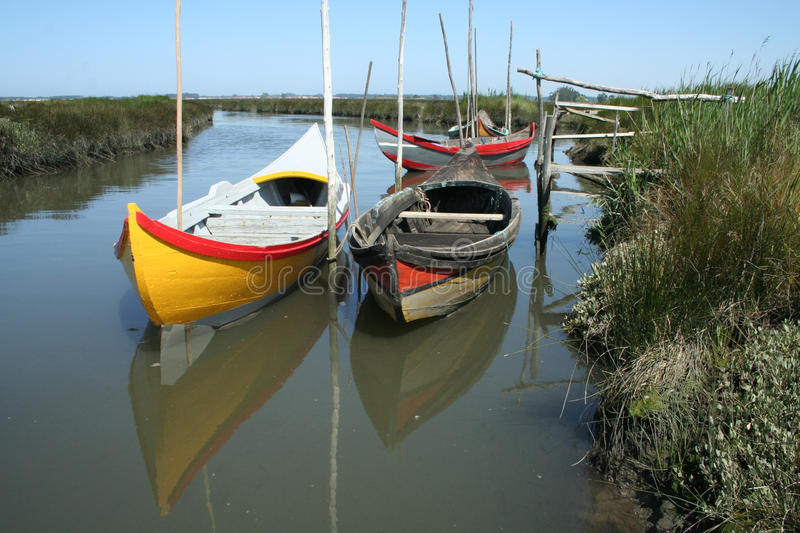 Moored boats royalty free stock photography