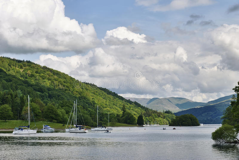 Moored Boats On Windermere Royalty Free Stock Photos