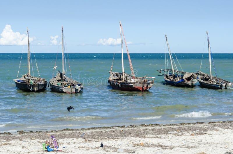 Moored dhows Bagamoyo shore. Moored dhows at Bagamoyo shore. Pwani region, Tanzania, Africa royalty free stock images