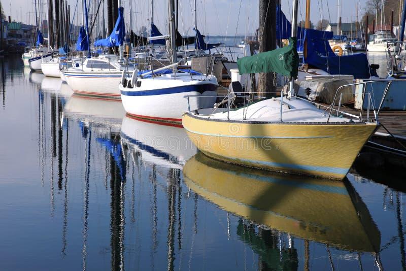 Moored sailboats, Portland Oregon. stock image