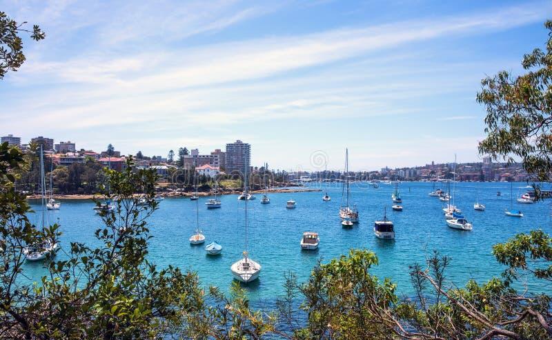 Moored sailboats and yachts. stock image