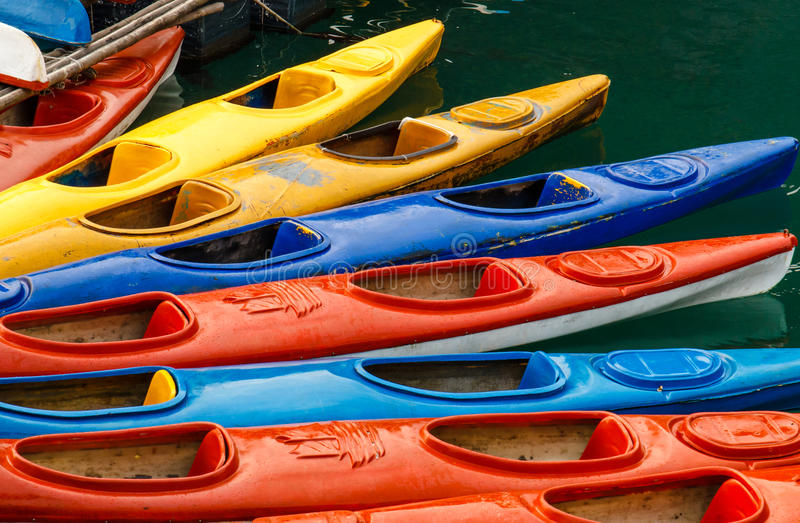 Moored Sea Kayaks royalty free stock photo
