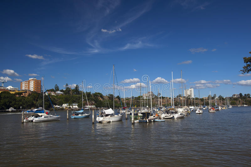 Moored yachts on Brisbane River royalty free stock photography