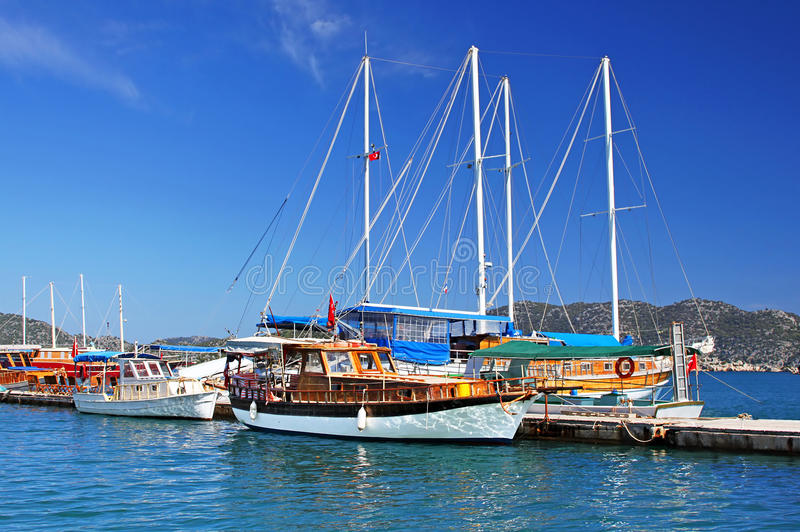 Moored yachts, near Kekova island. Turkey stock photo