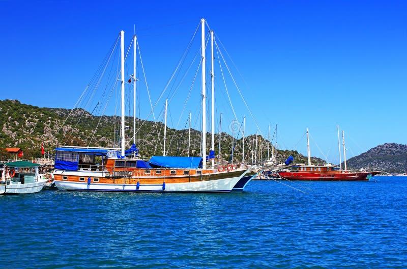 Moored yachts, near Kekova island stock photo