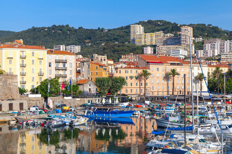 Moored yachts and pleasure boats in old port of Ajaccio. South Corsica, France stock photo