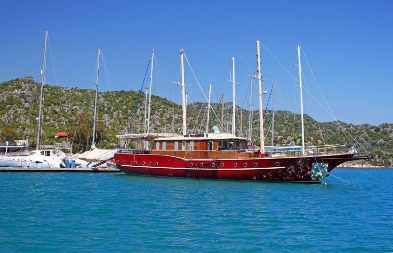 Moored yachts, Turkey stock image