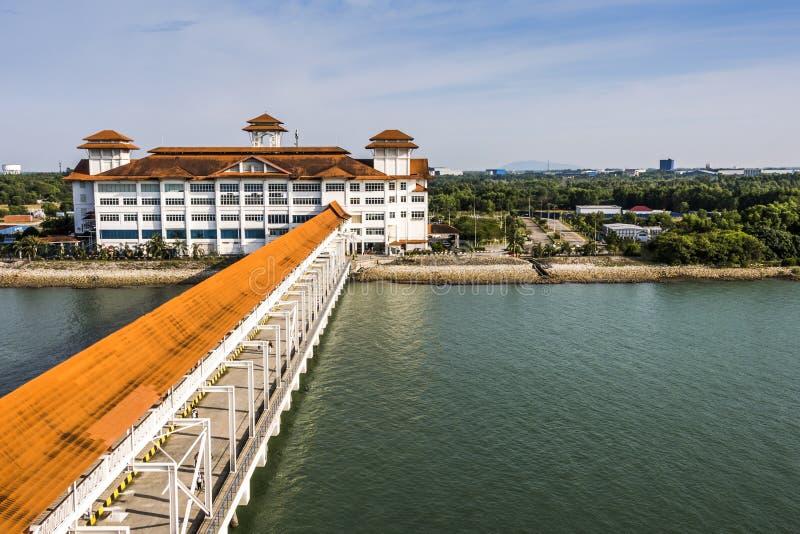 Port klang transport terminal for cruises malaysia. Mooring dock and platform for disembarkation of cruise passengers in port klang malaysia stock photos