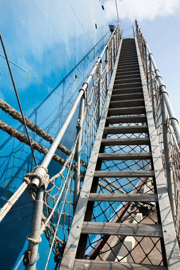 Mooring ladder. Perspective ship closeup stock image