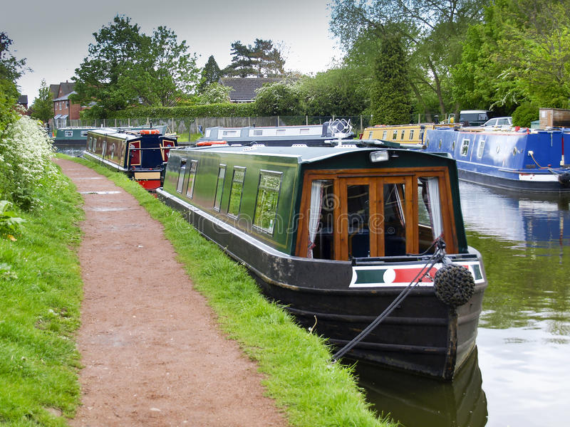 Mooring narrowboats. At the towpath side in Penkridge on the Staffordshire and Worcestershire canal royalty free stock photo