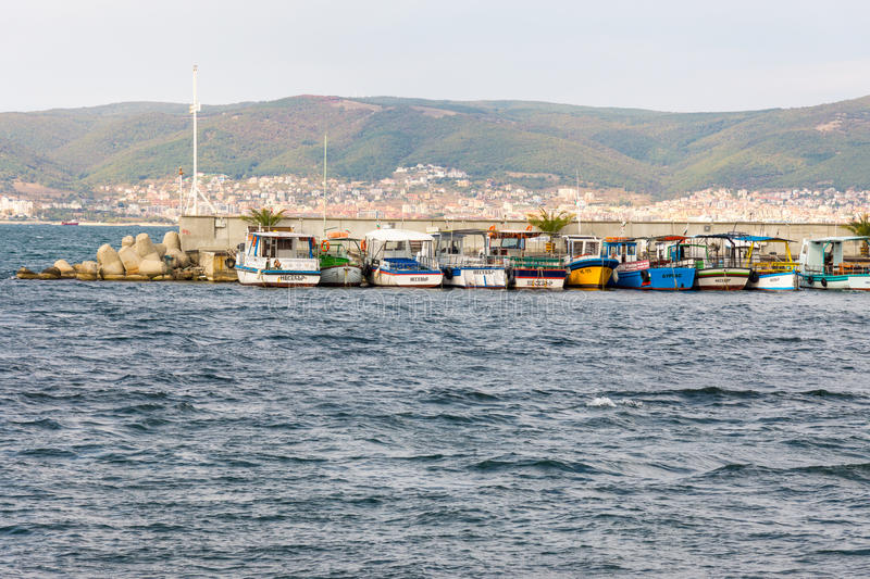 Mooring of pleasure boats in the old town of Nessebar, Bulgaria royalty free stock photo