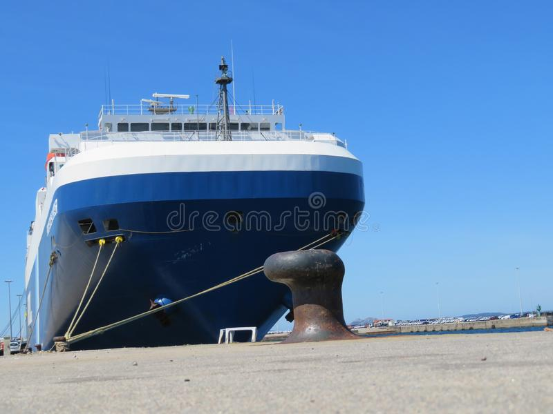 Mooring Port where are parked boats to refuel and repair. Barco transporte royalty free stock photography