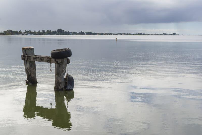 Mooring Posts at Goolwa, South Australia - Landscape Orientation stock photography